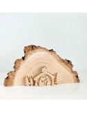 Miniatuur houtplak kerststal met bomen